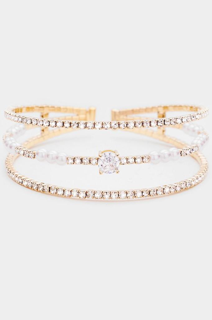 Frida Gold Crystal Rhinestone Statement Pearl Cuff Bracelet
