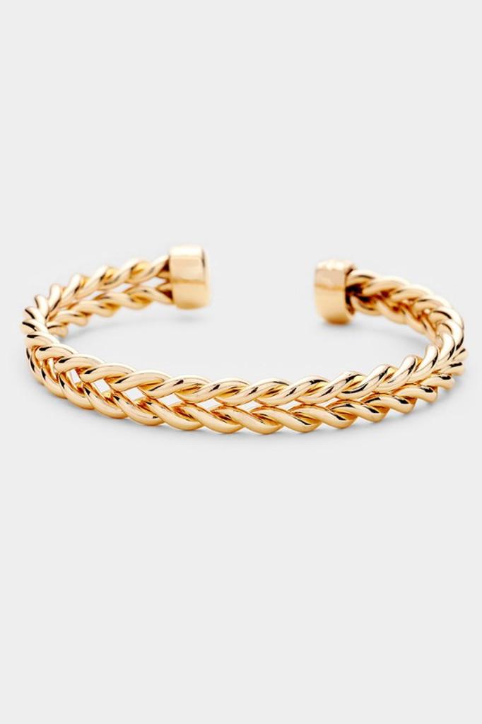 Sylvie Gold Braided Twist Metal Cuff Bracelet