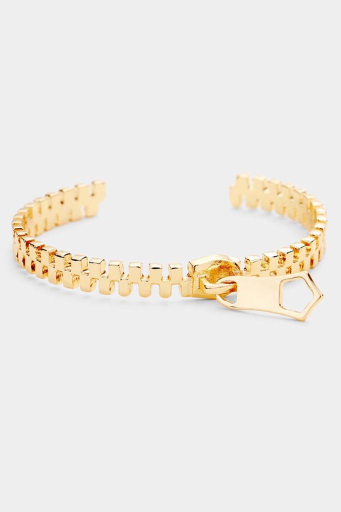 Christie Gold Metal Zipper Cuff Bracelet