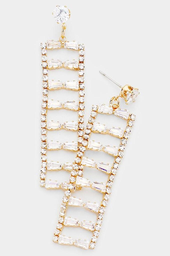 Ysabel Gold Baguette Cut Drop Dangle Evening Earrings