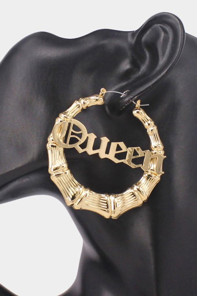 QUEEN Gold Metal Bamboo Hoop Message Pin Catch Earrings
