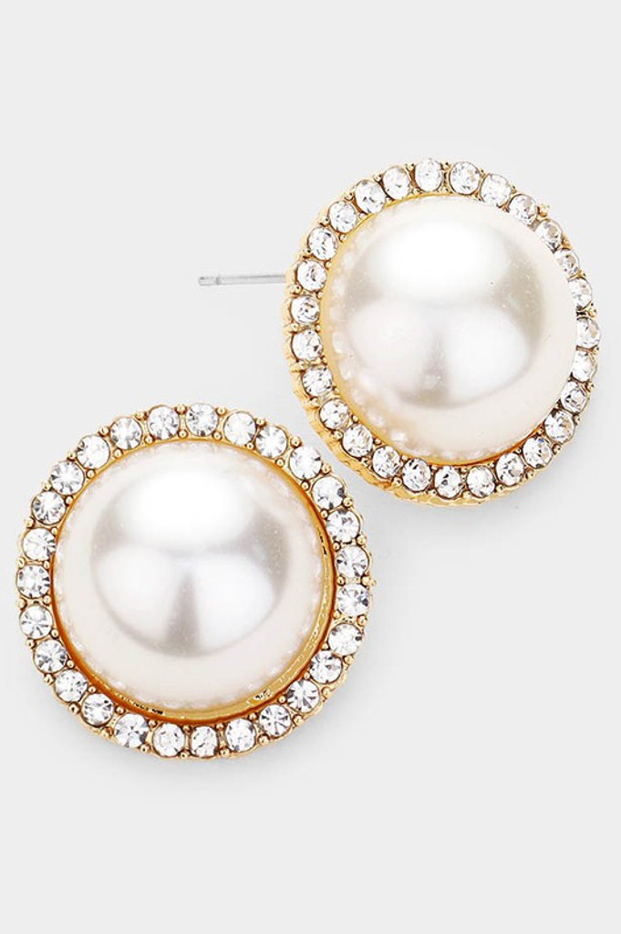 Emma Gold Pearl Rhinestone Pave Trim Stud Earrings