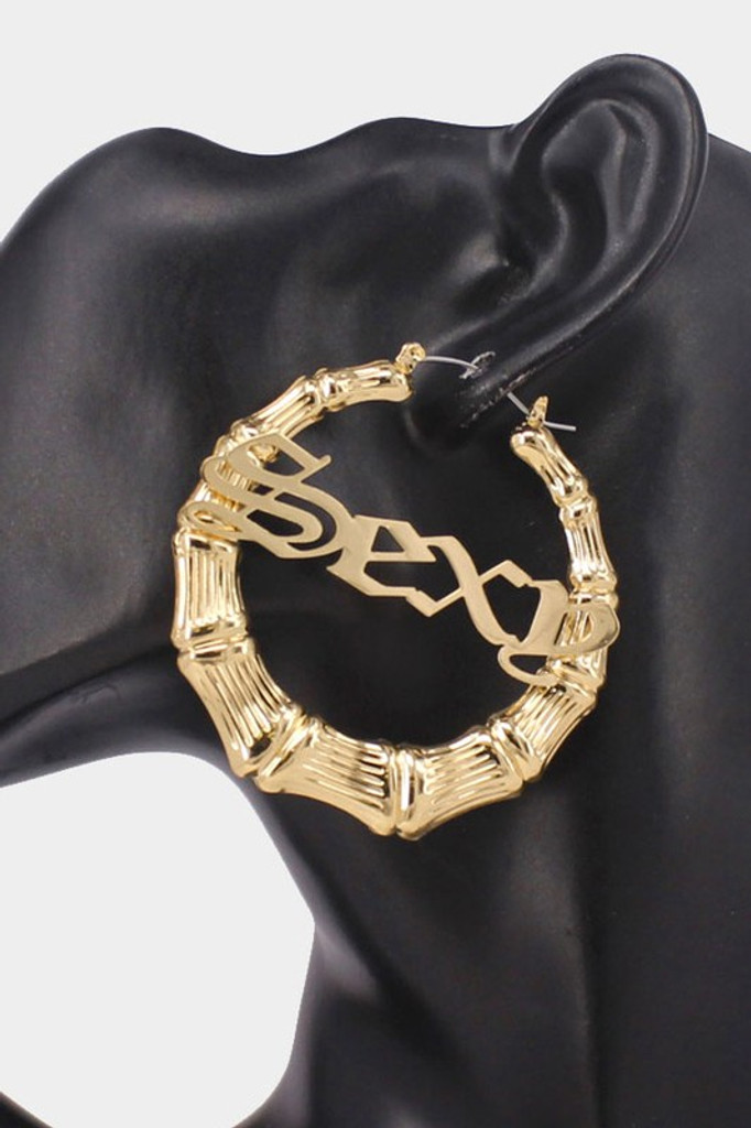 SEXY Gold Metal Bamboo Hoop Message Pin Catch Earrings