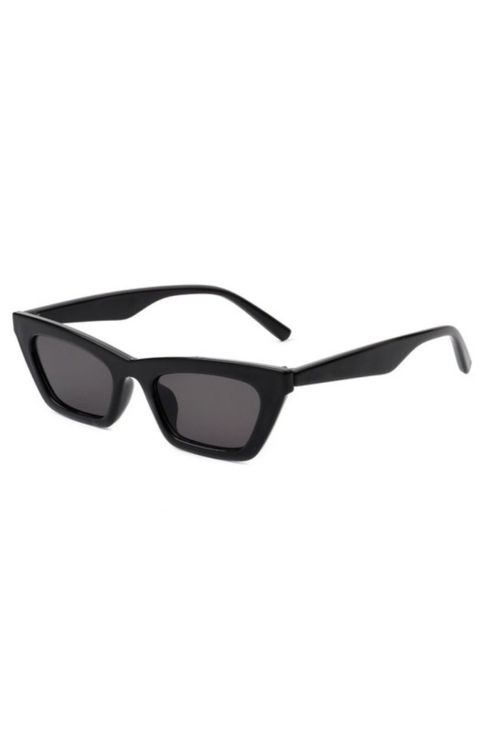 Camilla Black Retro Slim Cat Eye Sunglasses