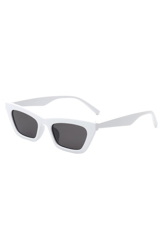 Camilla White Retro Slim Cat Eye Sunglasses