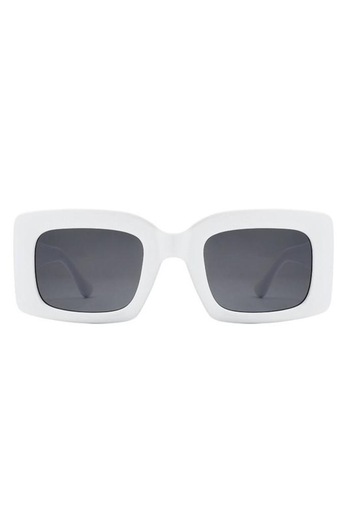 Koko White Retro Square Vintage Sunglasses