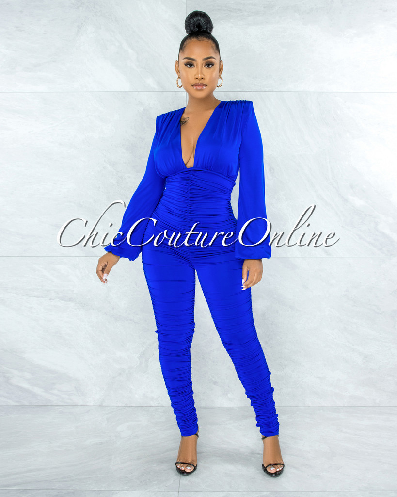 Amorosa Royal-Blue Ruched Deep V Jumpsuit
