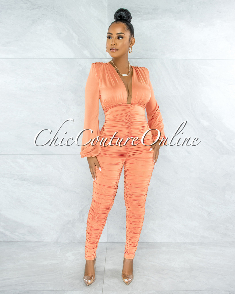 Amorosa Light Tangerine Ruched Deep V Jumpsuit