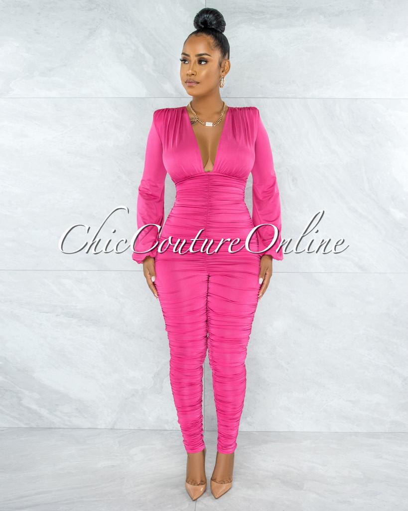 Amorosa Pink Ruched Deep V Jumpsuit