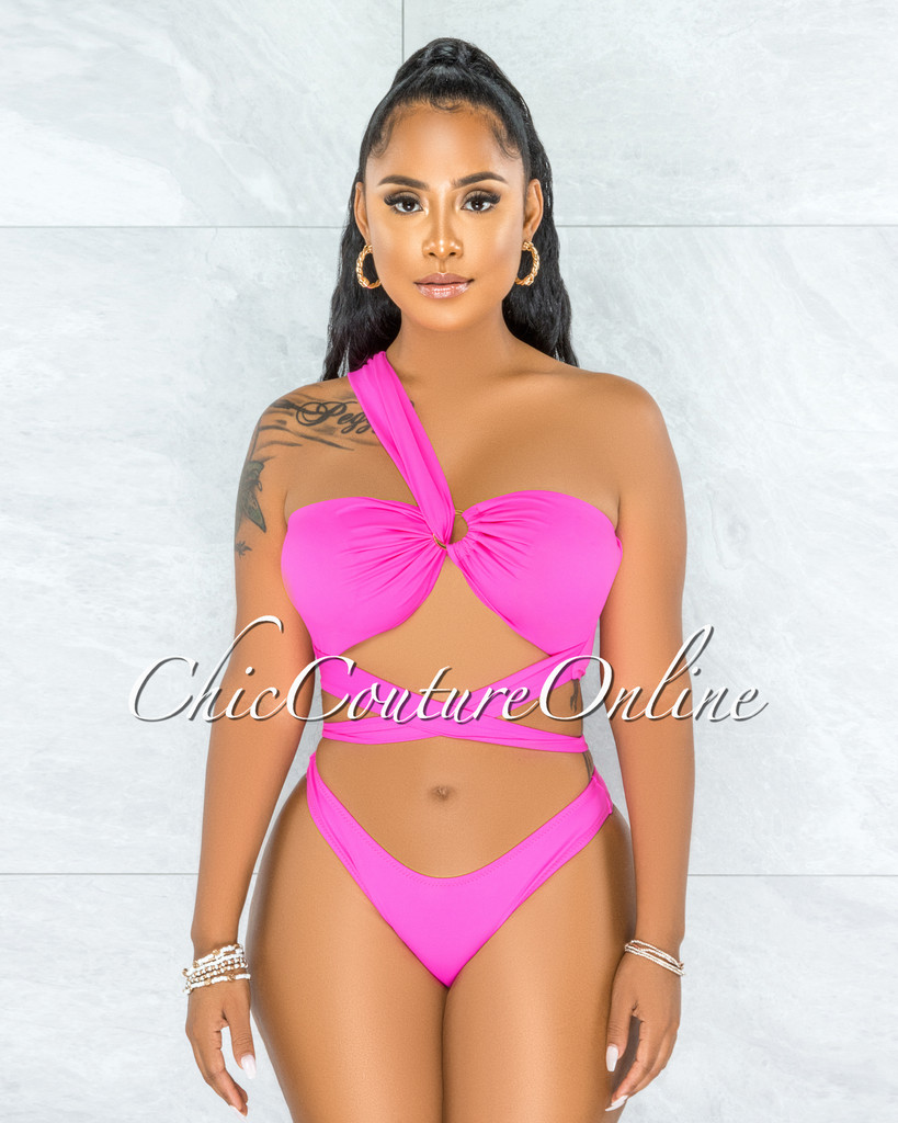 Tryna Hot Pink Single Shoulder Gold Detail Two Piece Swimsuit