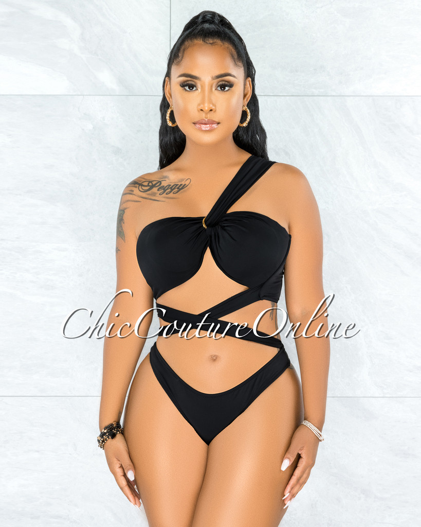 Tryna Black Single Shoulder Gold Detail Two Piece Swimsuit