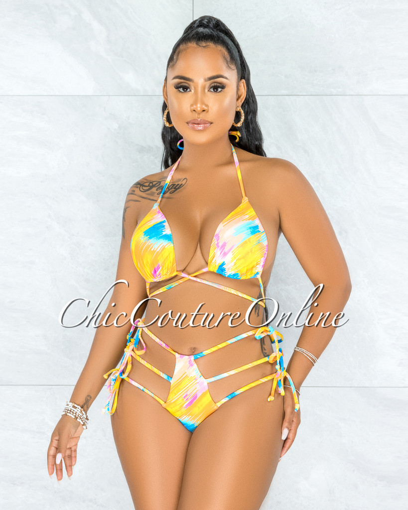 Harith Yellow Multi-Color Strapy Hips Two Piece Swimsuit