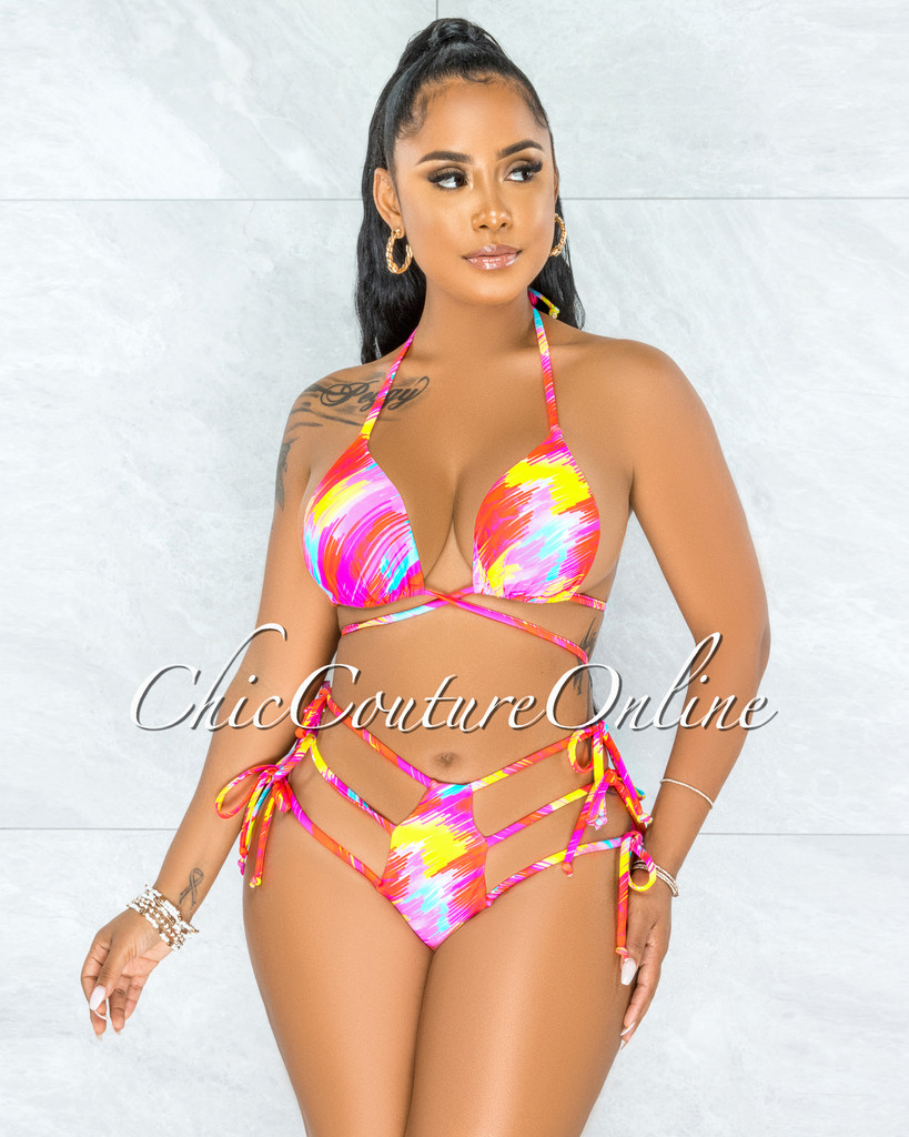 Harith Fuchsia Multi-Color Strapy Hips Two Piece Swimsuit
