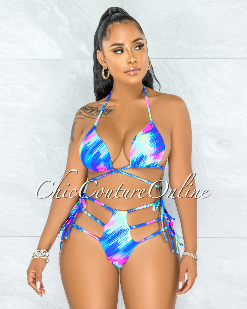 Harith Blue Multi-Color Strapy Hips Two Piece Swimsuit