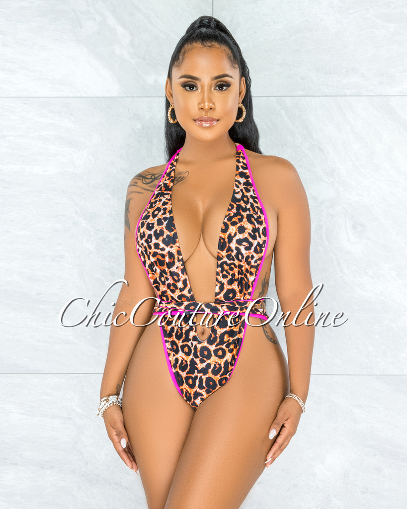 Ronald Leopard Print Hot Pink Trim Halter Waist Tie Swimsuit