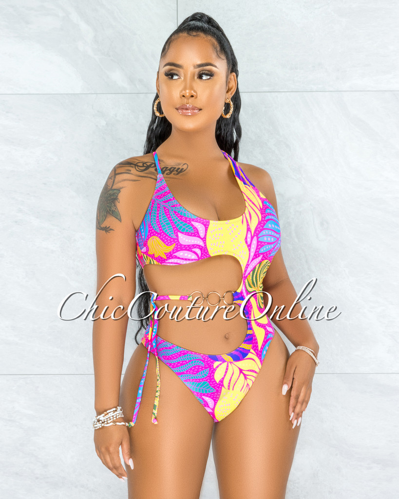 Camilo Hot Pink Print Single Shoulder Waist Gold Tie Swimsuit