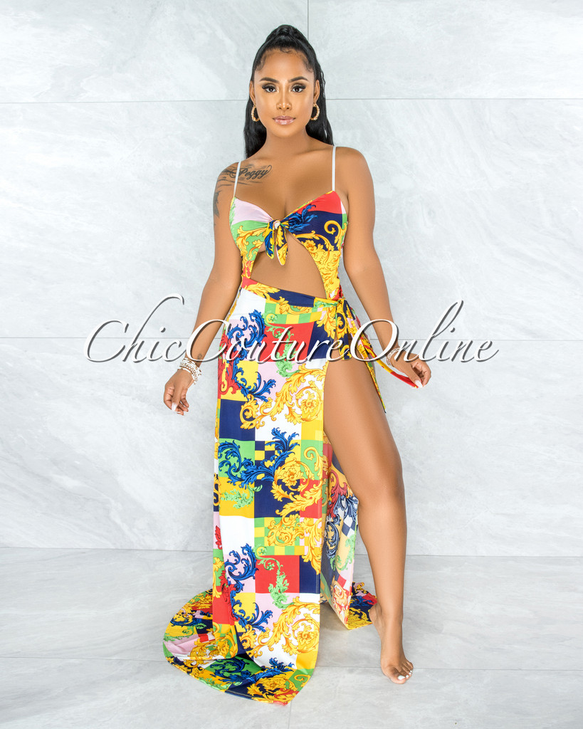 Maleda Red Multi-Color Print Two Piece Set Swimsuit