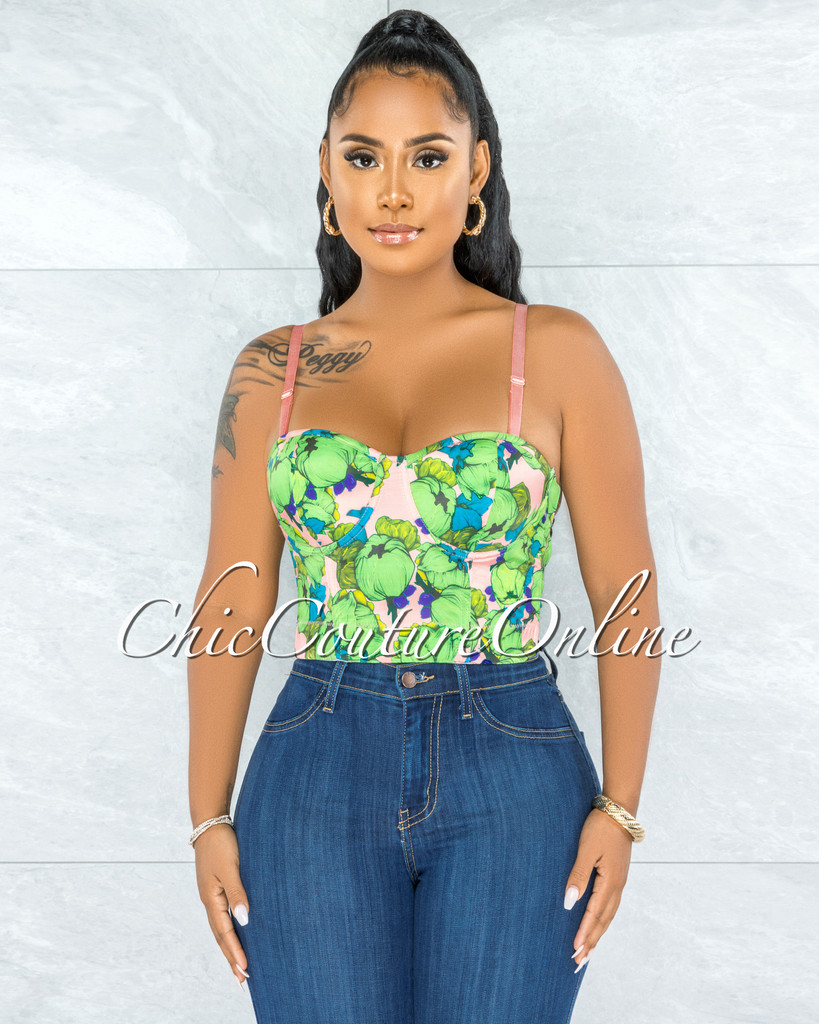 Batya Coral Green Multi-Color Print Padded Bustier