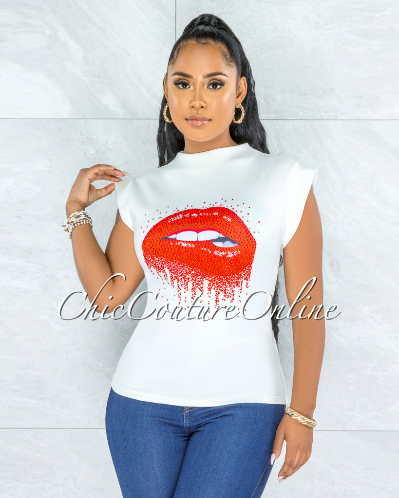 Birdena Off-White Red Rhinestones Lips Graphic Ponti Shirt