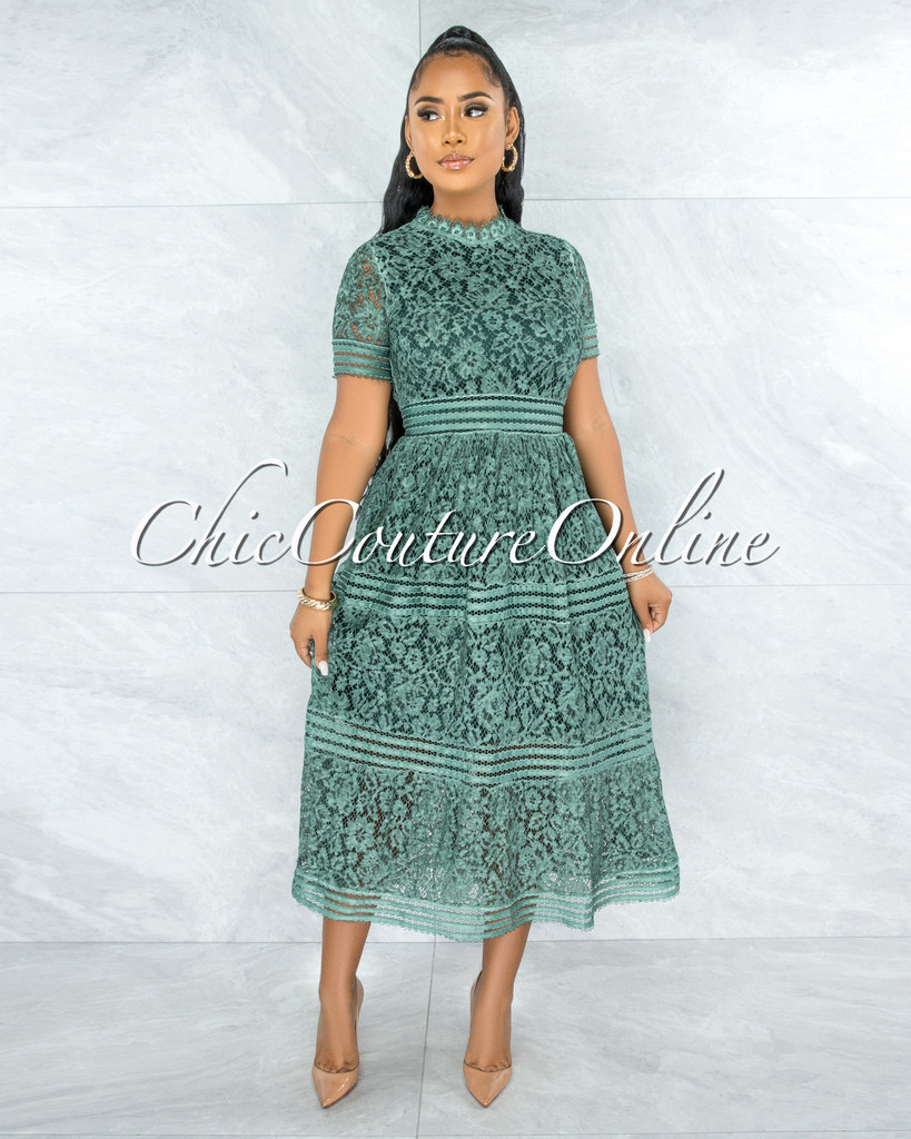 Feather Sage Green Lace Midi Dress