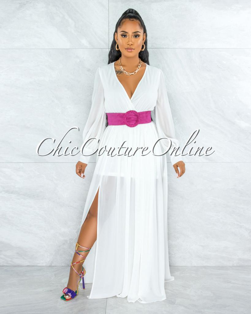 Canela Ivory Long Sleeves Belted Maxi Dress