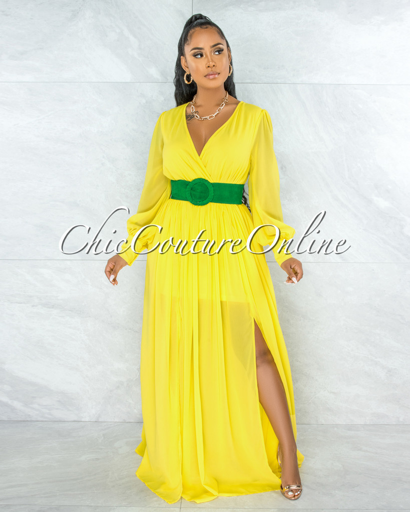 Canela Yellow Long Sleeves Belted Maxi Dress