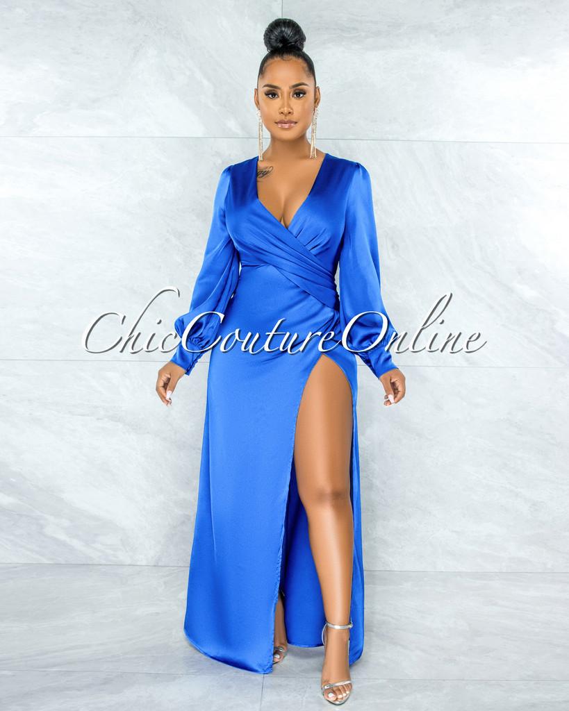 Alara Royal Blue Dramatic High-Low Slit Dress