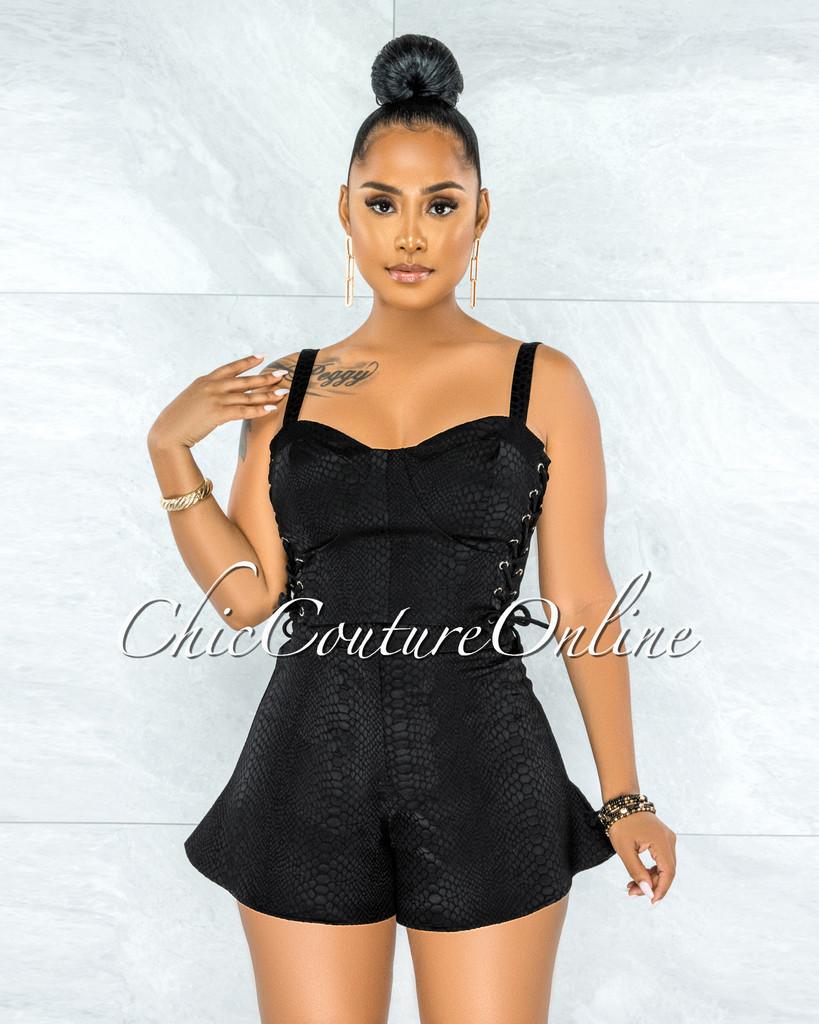 Yolanda Black Snake Texture Lace-Up Top & Shorts Set