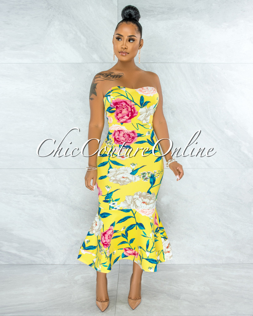 Katoya Yellow Floral Print Strapless Mermaid Hem Midi Dress