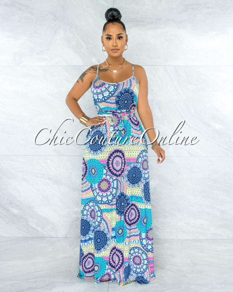 Everly Turquoise Mandala Print Self-Tie Belt Maxi Dress