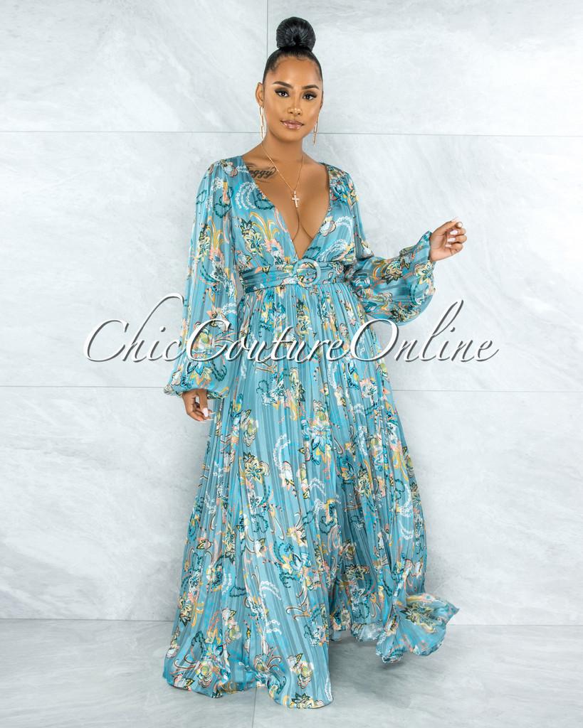 Rima Jade Floral Print Pleated Satin Maxi Dress