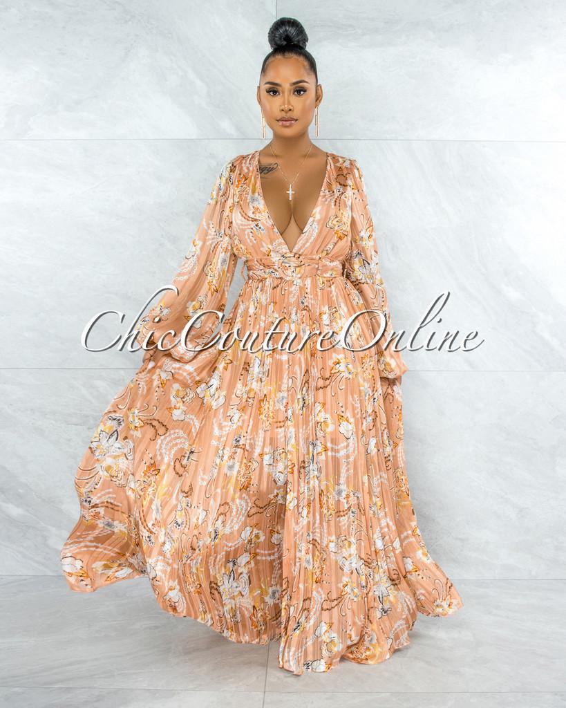Rima Salmon Floral Print Pleated Satin Maxi Dress