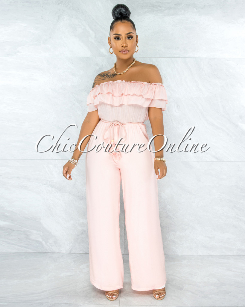 Lizzie Salmon Off-The Shoulders Ruffle Jumpsuit