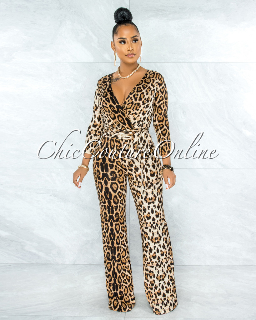 Linda Leopard Print Self-Tie Belt Jumpsuit
