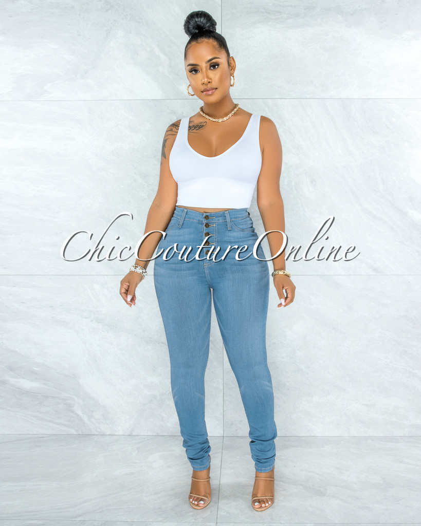 Phina Light Denim Button Up High Waist Skinny Jeans