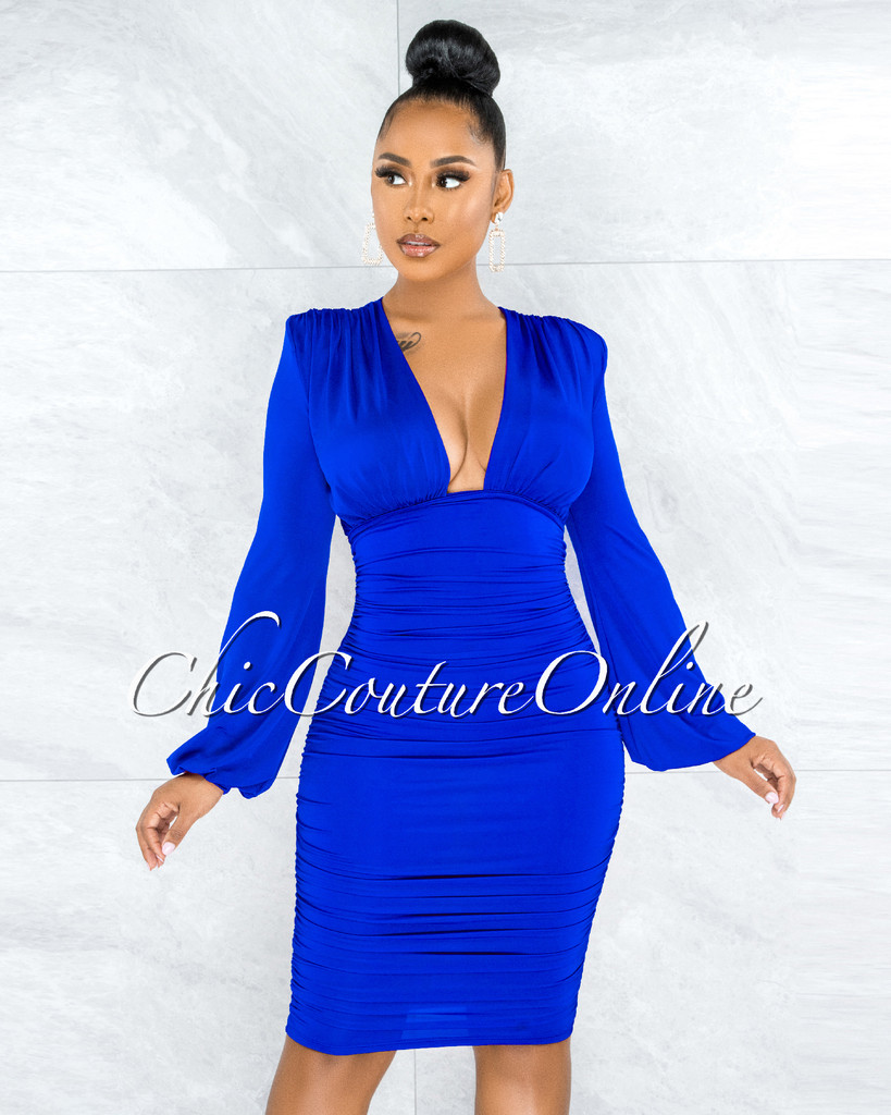 Veata Royal-Blue Ruched Sides Deep-V Neckline Midi Dress