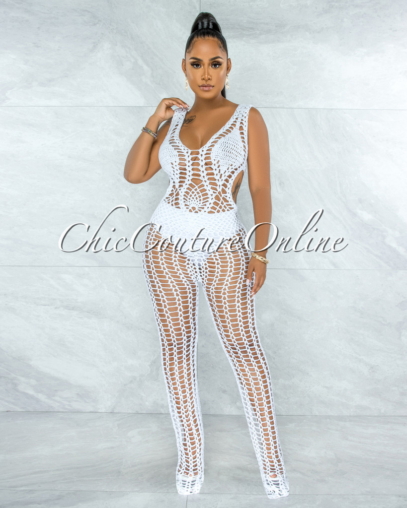 Tayo Off-White Crochet Cover-Up Net Jumpsuit