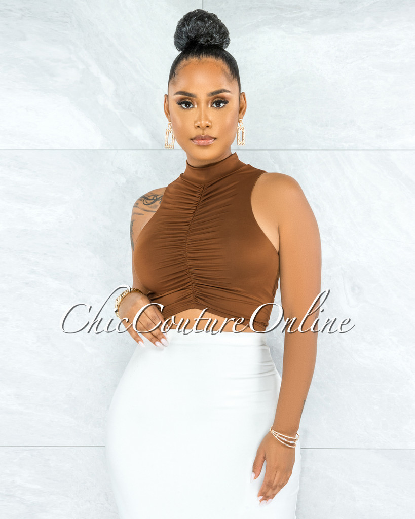 Demarcus Brown Double Lined Ruched Front Crop Top