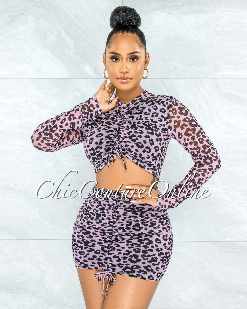 Hedia Lilac Black Leopard Print Ruched Two Piece Set