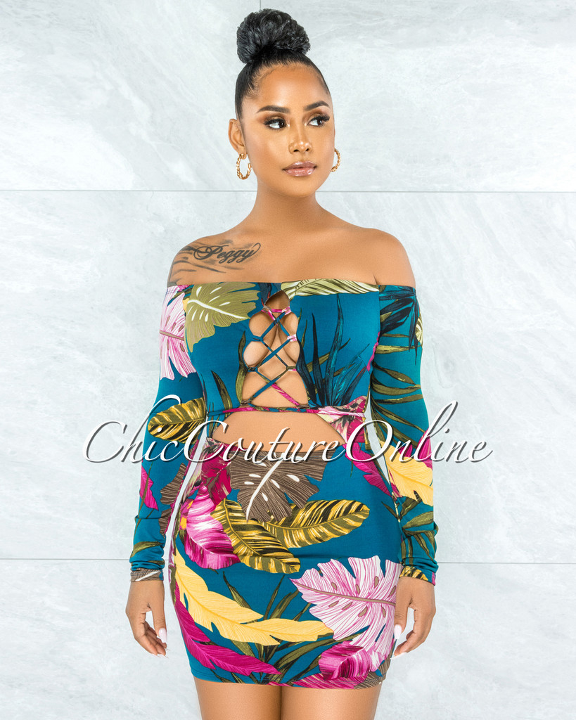 Shysie Dark Teal Multi-Color Floral Print Front Cut-Out Dress
