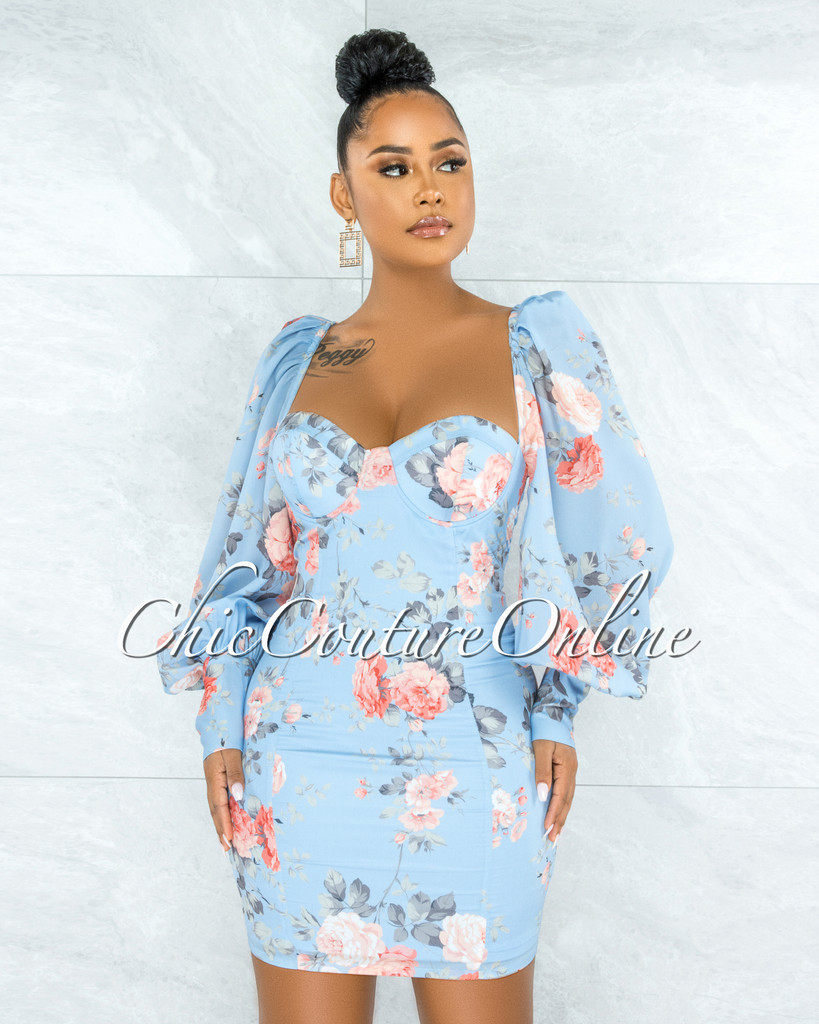 Mikan Baby Blue Floral Print Padded Cups Mini Dress