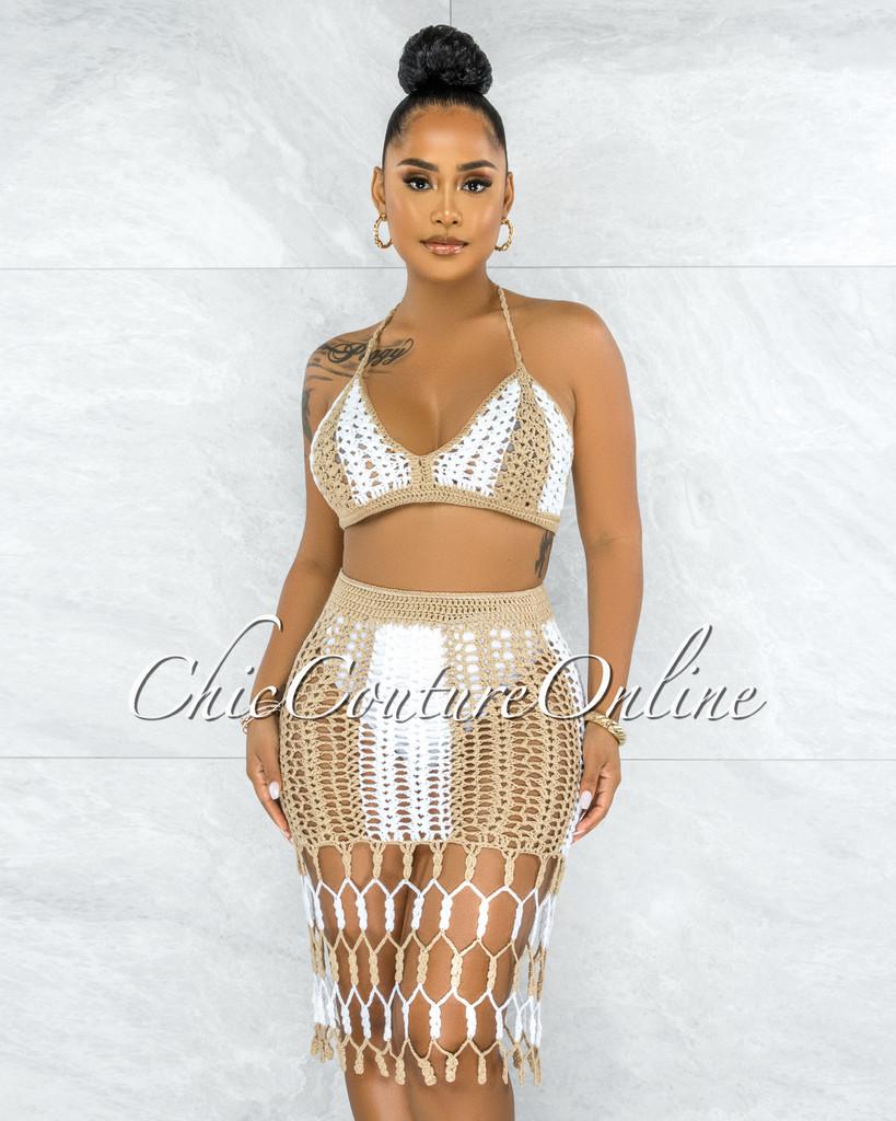 Corolla Nude White Crochet Cover-Up Fringe Skirt Set