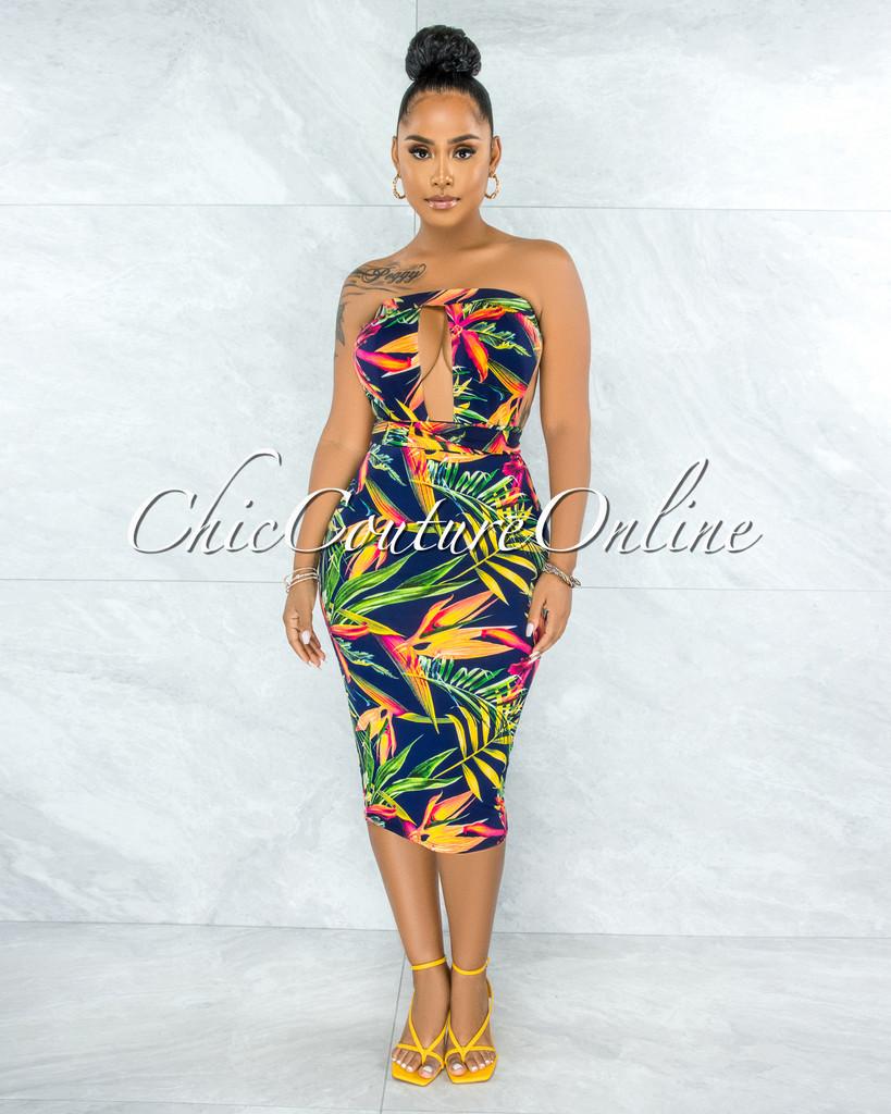 Vachia Navy Blue Multi-Color Print Cut-Out Midi Dress