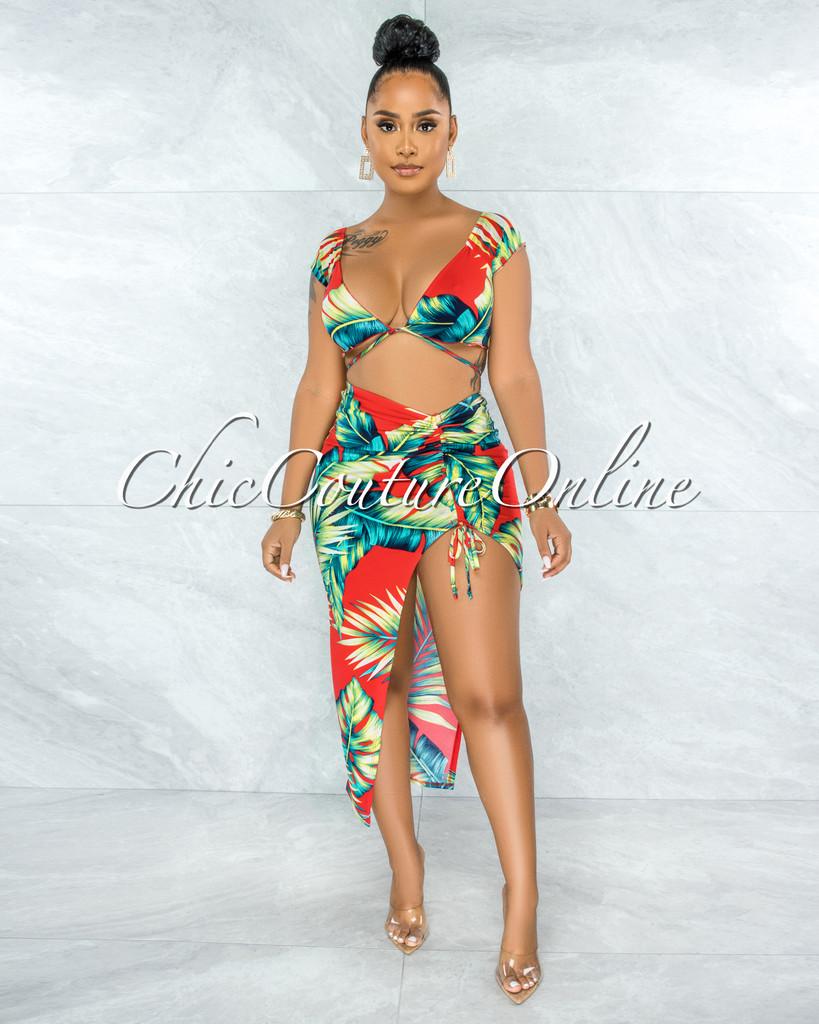 Pamela Red Leaf Print Front Tie Top & Ruched Slit Skirt Set