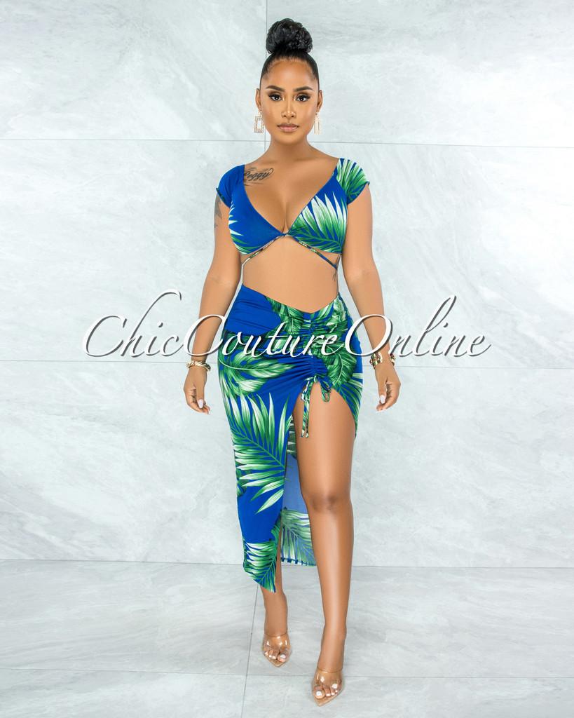 Pamela Royal Blue Leaf Print Front Tie Top & Ruched Slit Skirt Set