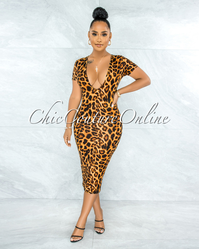 Ronalda Brown Leopard Print Body-Con Midi Dress