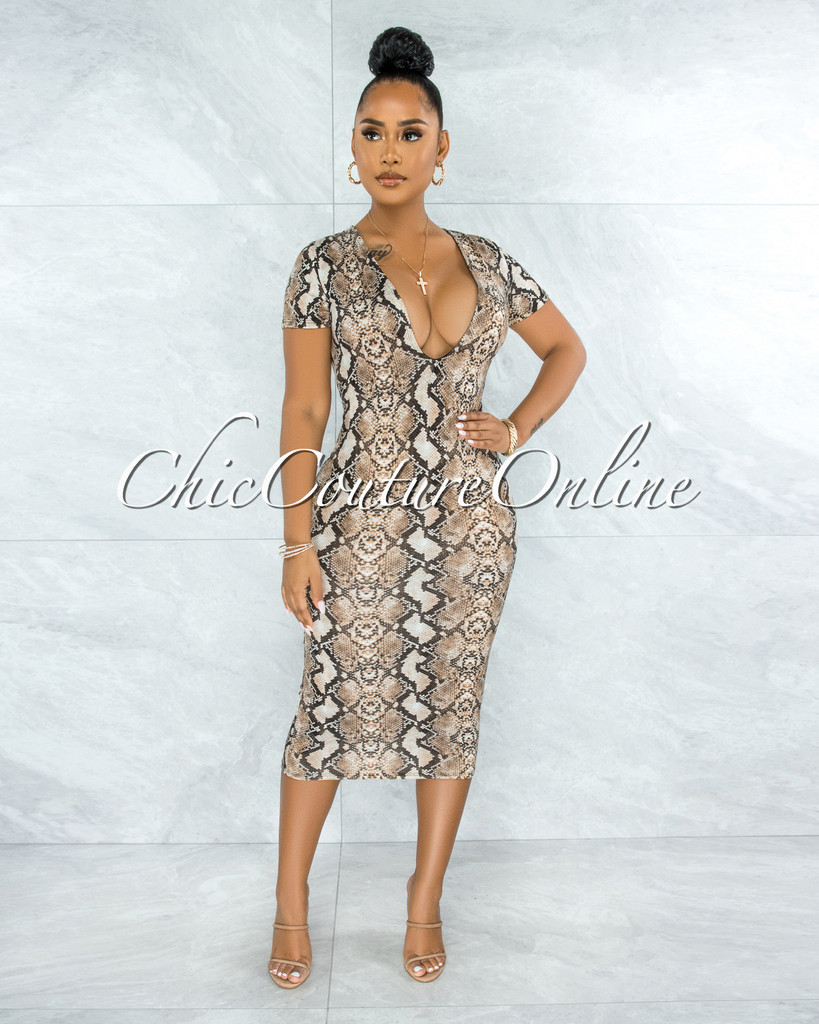 Ronalda Nude Snake Print Body-Con Midi Dress