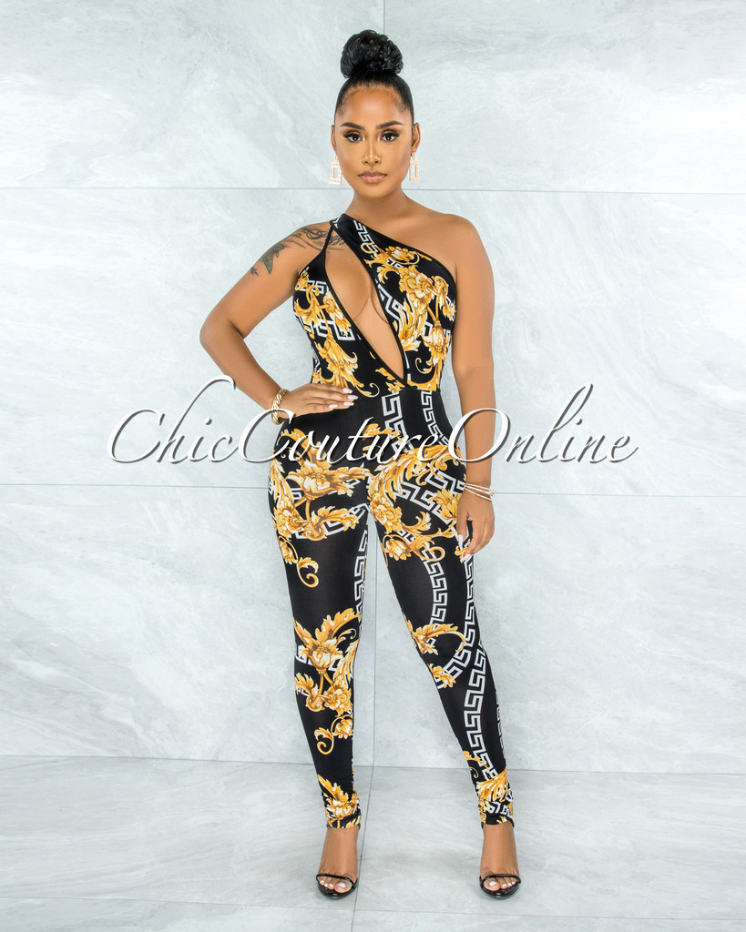 Ohela Black Gold Print Cut-Out Jumpsuit