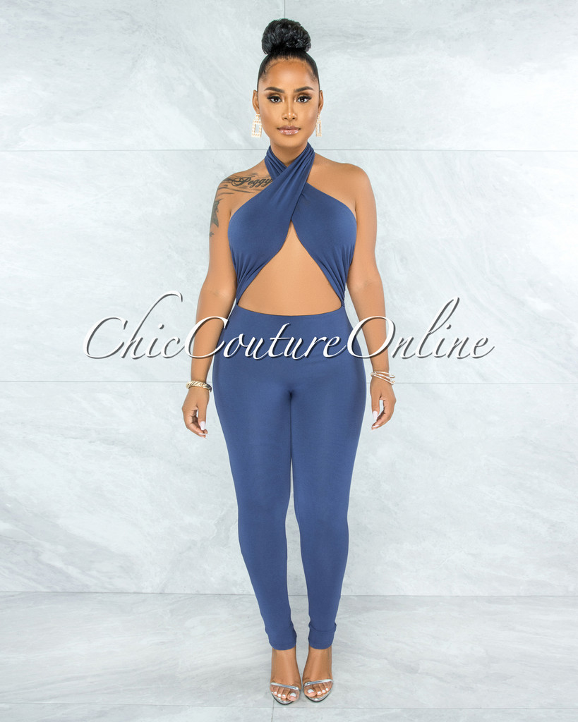 Payton Steel Blue Halter Cut-Out Jumpsuit