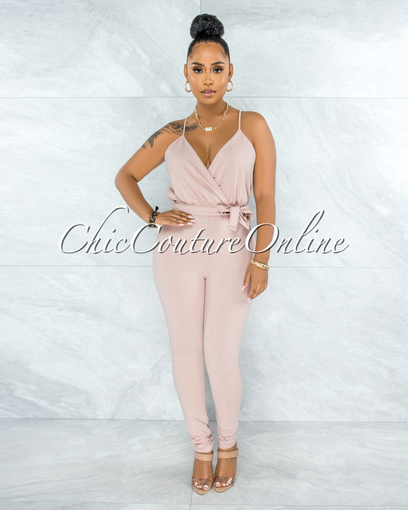 Hasita Blush Self-Tie Belt Jumpsuit